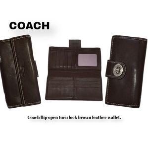 Coach flip open turn lock brown leather wallet
